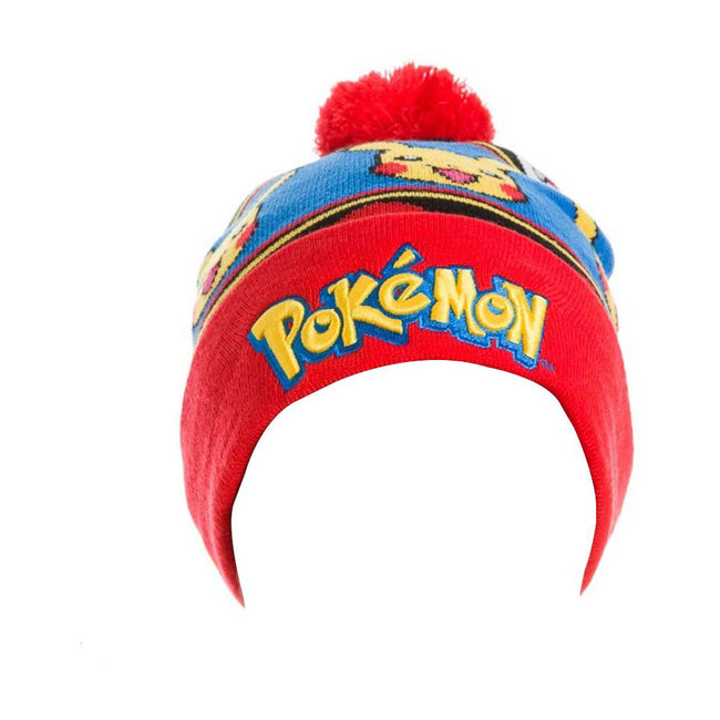 POKEMON Embroidered Pikachu with Red Pom-Pom Cuffless Beanie, One Size, Multi-Colour (KC23KUPOK)