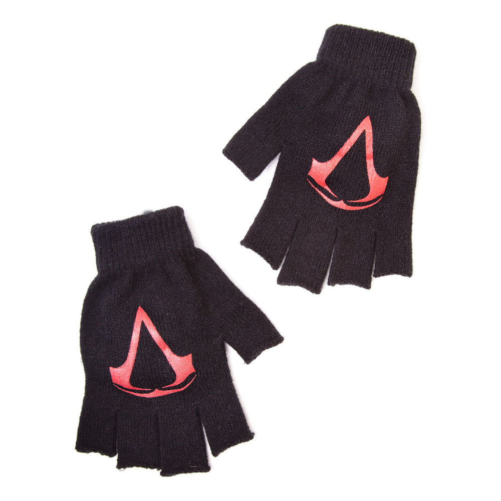 ASSASSIN'S CREED Red Brotherhood Crest Fingerless Gloves, One Size, Black