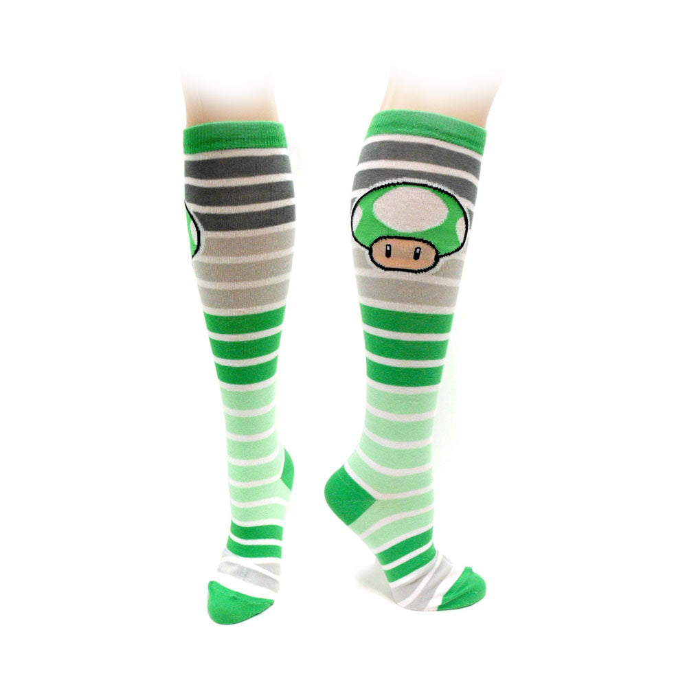 NINTENDO Super Mario Bros. Adult Female Green Mushroom Knee High Socks, One Size, Multi-Colour