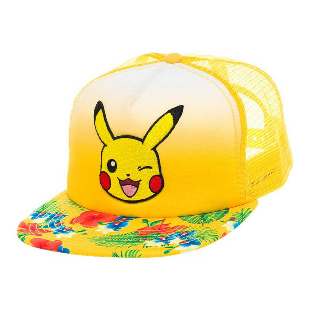 POKEMON Pikachu Winking Face with Floral Pattern Trucker Snapback Baseball Cap, One Size, Yellow (BA2BGSPOK)