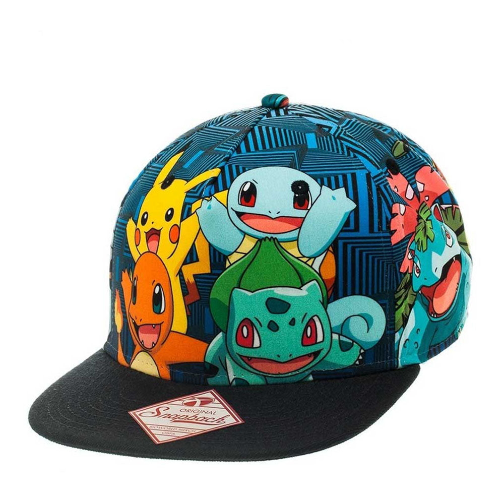 POKEMON Charmander & Friend All-Over Pattern Snapback Baseball Cap, One Size, Black/Blue Striped (SB1PSJPOK)