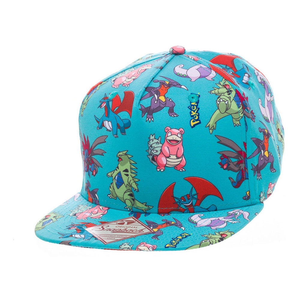 POKEMON Dragon Characters All-Over Pattern Snapback Baseball Cap, One Size, Turquoise (SB2BGMPOK)