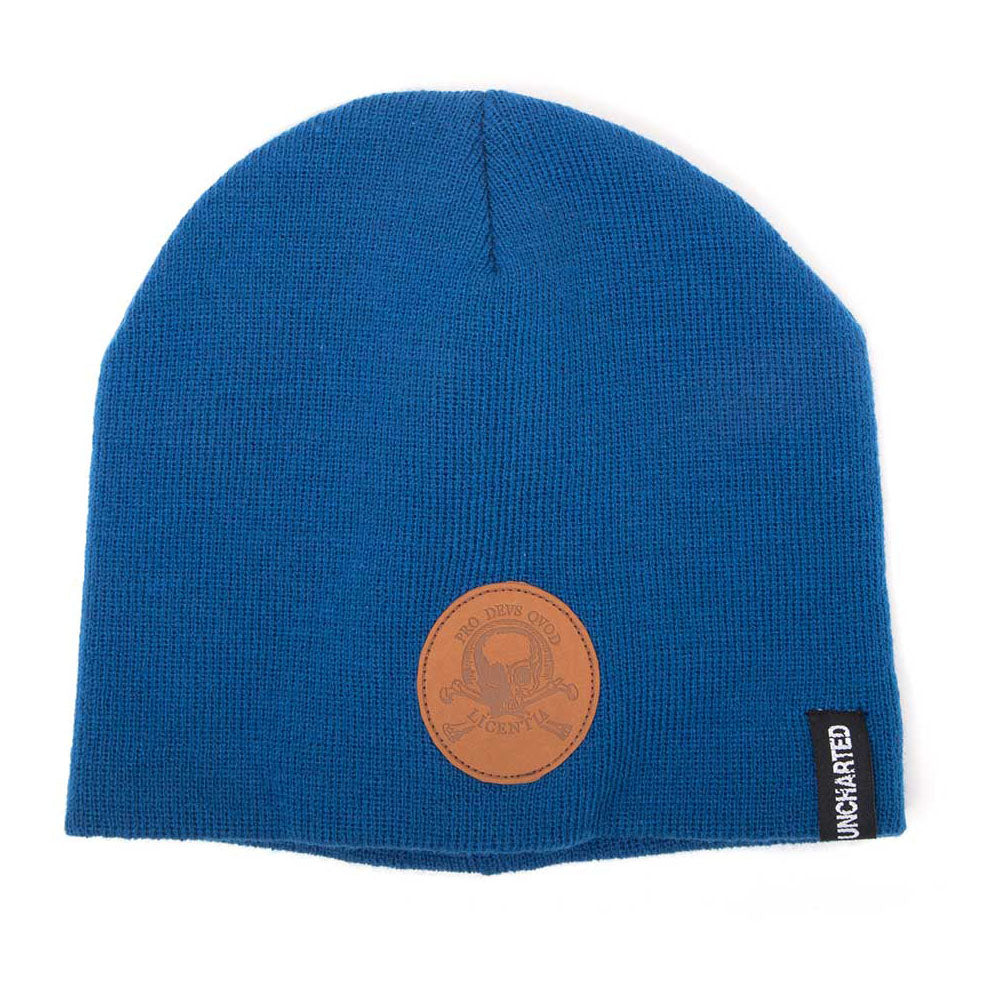 UNCHARTED 4 Pro Devs Qvod Licentia Patch Cuffless Beanie, One Size, Blue (KC061010UNC)