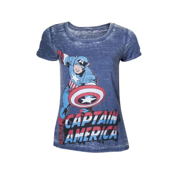 MARVEL COMICS Captain America Adult Female Super-Powered Solider Faded T-Shirt,
