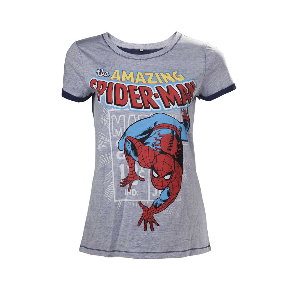 MARVEL COMICS Spider-Man Woman's Crawling T-Shirt, Extra Large, Grey (TS260815MAR-XL)