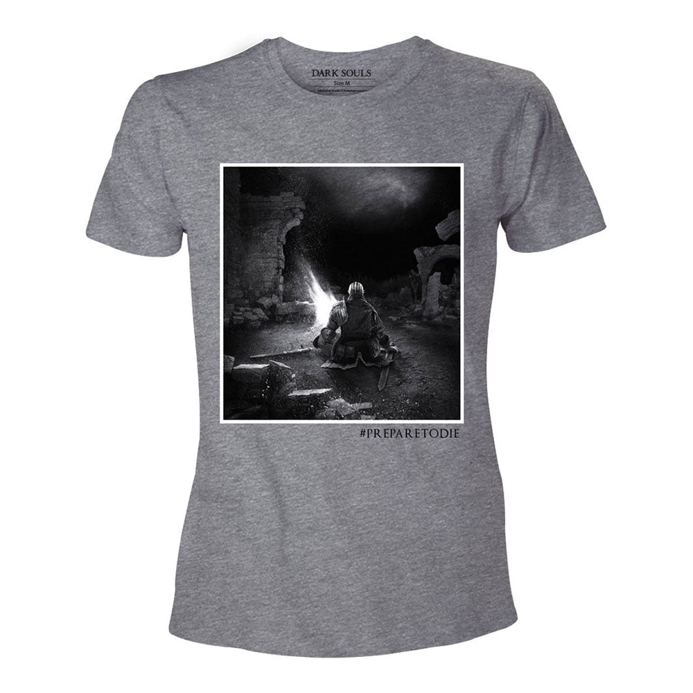 DARK SOULS Men's The Bonfire 'Prepare to Die' T-Shirt, Extra Extra Large, Grey (TS292035DKS-2XL)