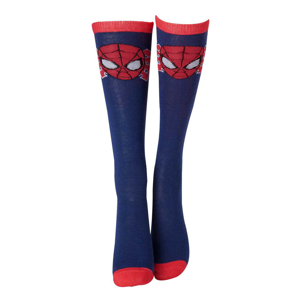 MARVEL COMICS Spider-Man Woman's Face Mask Close-up Knee High Socks, One Size, Blue/Red