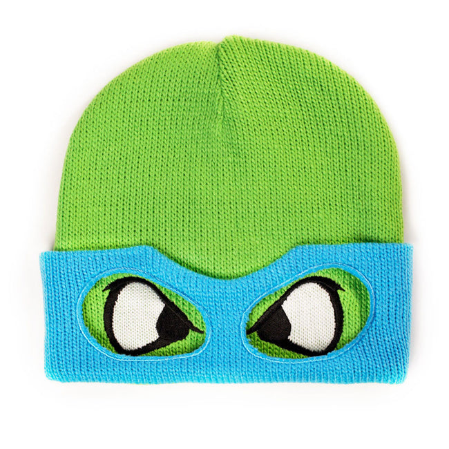 TEENAGE MUTANT NINJA TURTLES (TMNT) Leo Face & Mask Cuffless Beanie, One Size, Green/Blue (KC07QNTMT)