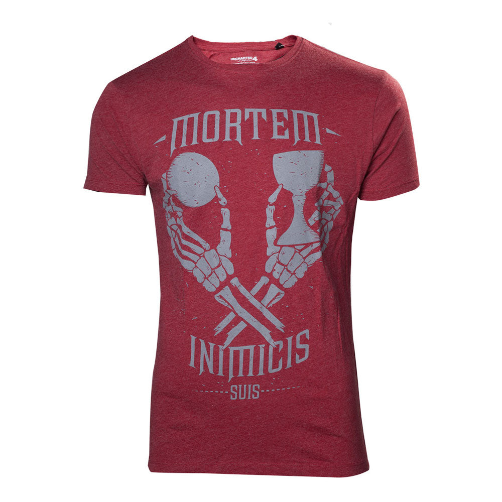 UNCHARTED 4 A Thief's End Men's Mortem Inimicis Suis T-Shirt, Extra Extra Large, Red (TS302040UNC-2XL)