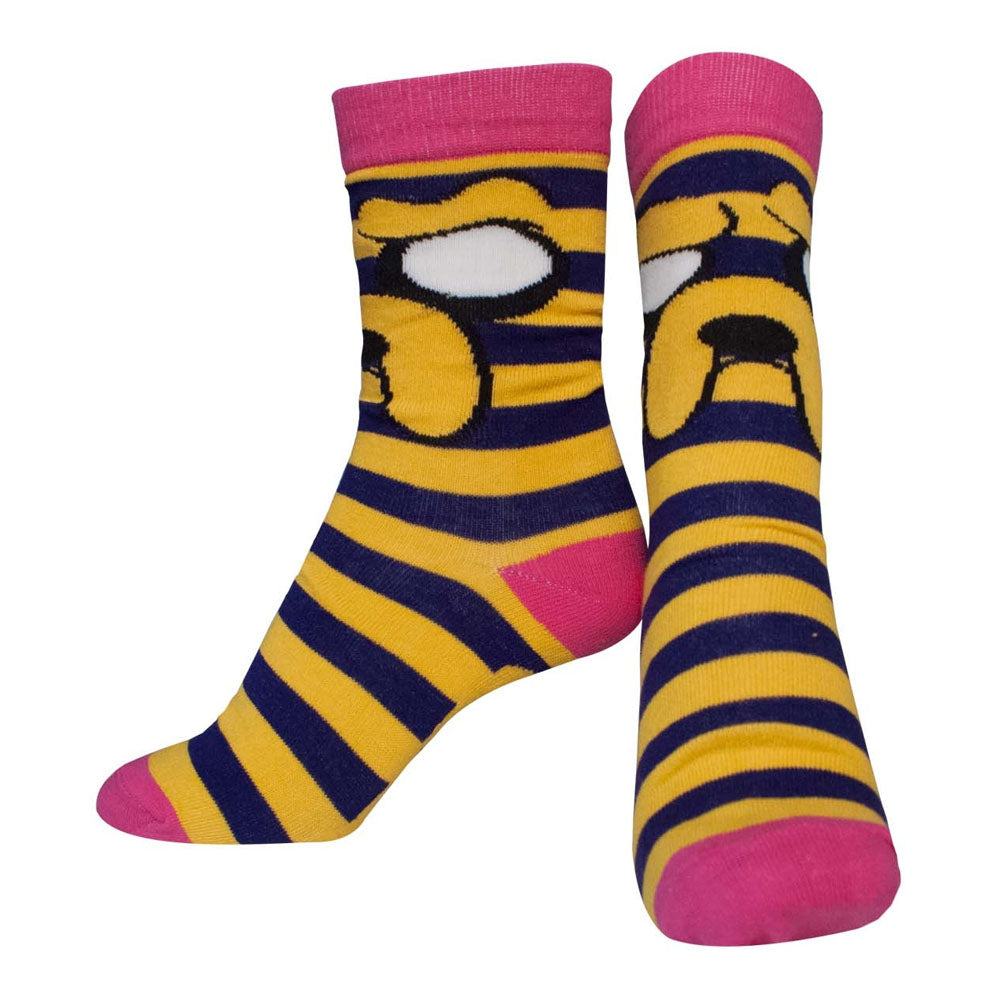 ADVENTURE TIME Female Jake with Striped Pattern Crew Socks