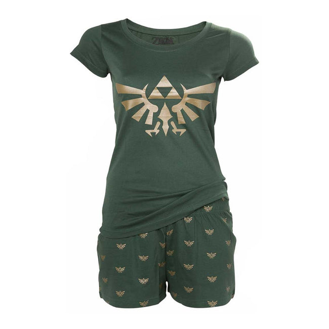 NINTENDO Legend of Zelda Women's Hyrule Royal Crest Shortama Nightwear Set