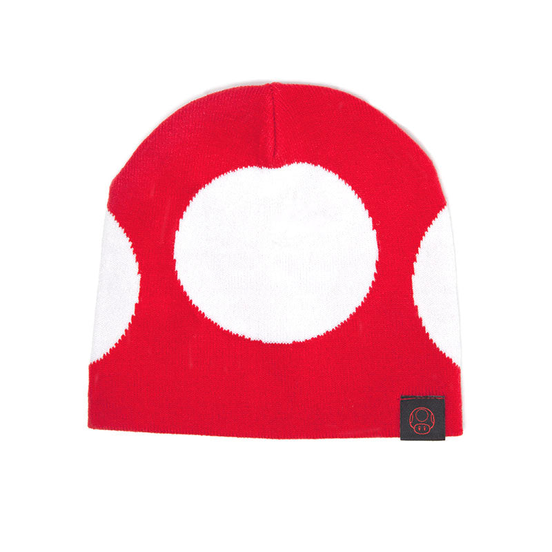 NINTENDO Super Mario Bros. Red Mushroom Cuffless Beanie, One Size, Red/White (KC180211NTN)