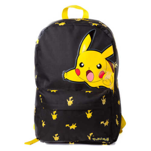 POKEMON Big Pikachu Print Backpack, Black/Yellow
