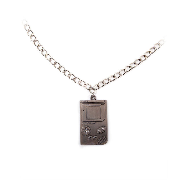 NINTENDO Super Original Gameboy Metal Twisted Link Chain Pendant Necklace, One Size, Silver (JE101312NTN)