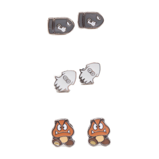 NINTENDO Super Mario Bros. Enemies Metal Stud Earrings, 3 Pair Set, Multi-colour