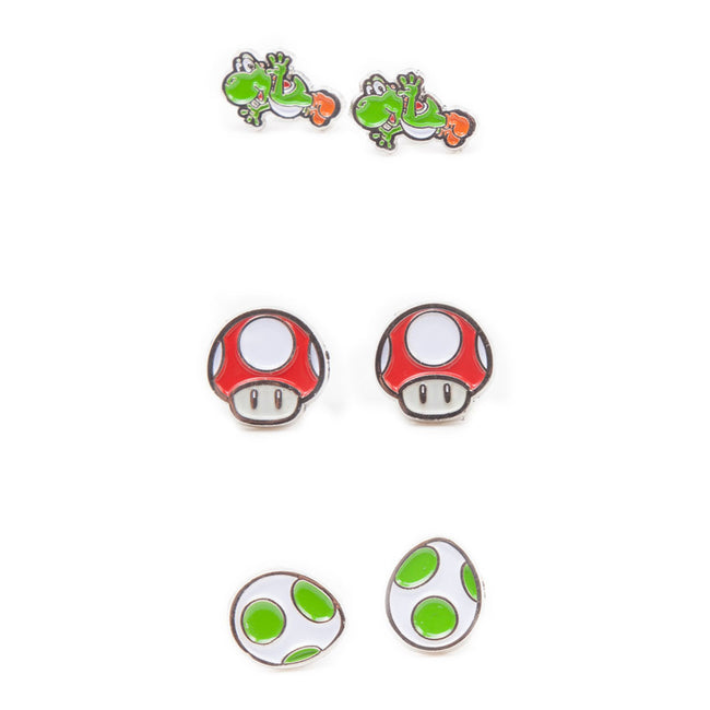 NINTENDO Super Mario Bros. Yoshi, Egg and Red Mushroom Metal Stud Earrings, 3 Pair Set, Multi-colour