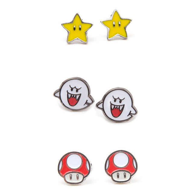 NINTENDO Super Mario Bros. Boo, Super Star and Red Mushroom Metal Stud Earrings, 3 Pair Set, Multi-colour