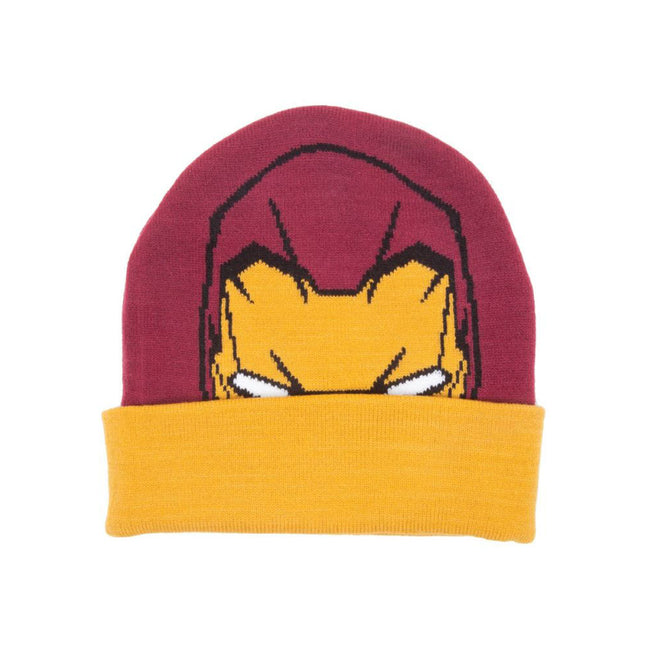 MARVEL COMICS Captain America: Civil War Knitted Iron Man Pattern Cuffed Beanie, One Size, Multi-colour