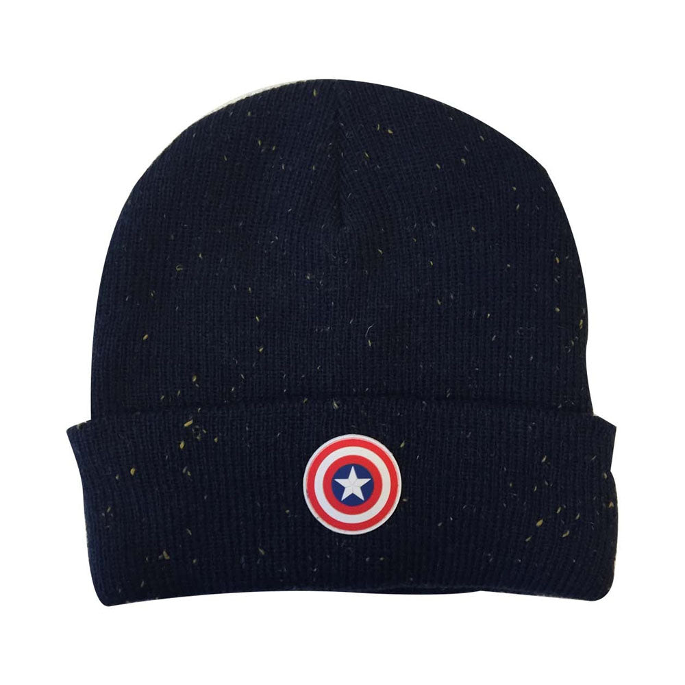 MARVEL COMICS Captain America: Civil War Cap Shield Logo Patch Cuffed Beanie, One Size, Black