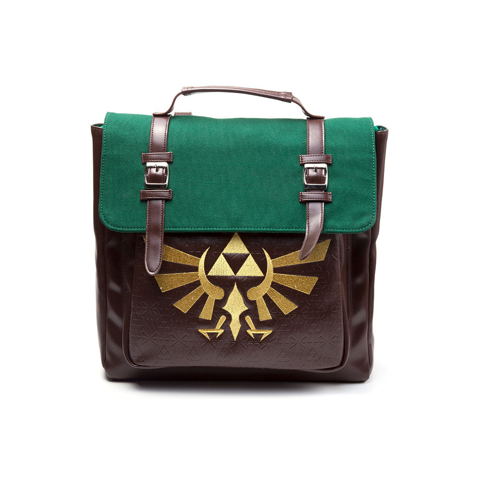 NINTENDO Legend of Zelda Golden Embroidered Hylian Royal Crest Emblem with Embossed Triforce Emblem Pattern Backpack, Brown/Green