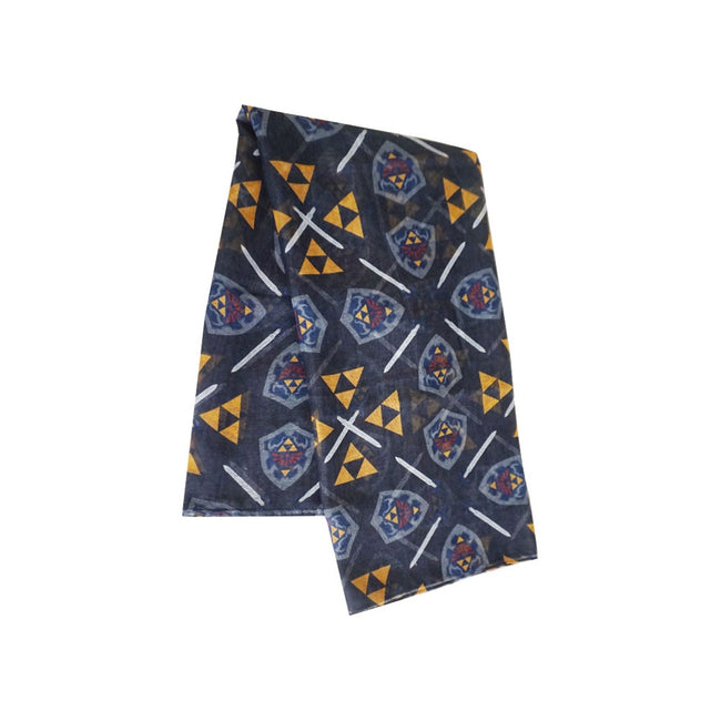 NINTENDO Legend of Zelda Woman's All-over Hylian Shield and Triforce Emblem Fashion Scarf, One Size, Multi-colour