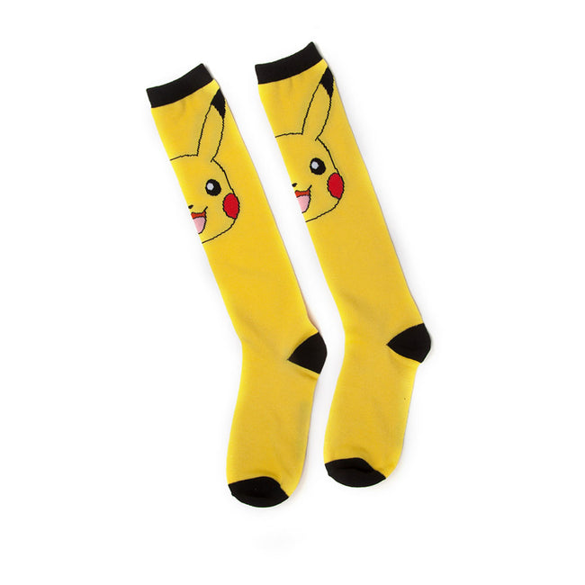 POKEMON Woman's Pikachu Knee High Socks, One Size, Yellow/Black