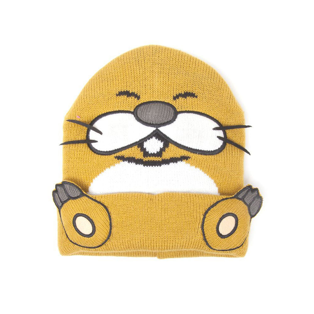 NINTENDO Super Mario Bros. Monty Mole Cuffed Beanie with 3D Whiskers and Feet, One Size, Orange (KC170216NTN)