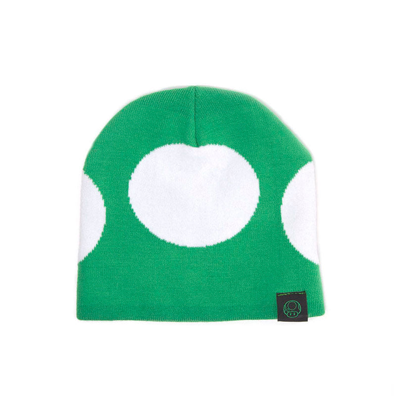 NINTENDO Super Mario Bros. Green Mushroom Cuffless Beanie, One Size, Green/White (KC180212NTN)
