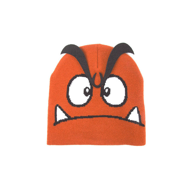 NINTENDO Super Mario Bros. Goomba Face Cuffless Beanie with 3D Eyebrows, One Size, Orange (KC170211NTN)