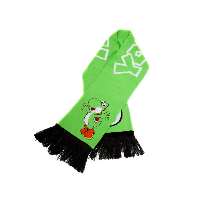 NINTENDO Super Mario Bros. Yoshi Knitted Scarf, One Size, Green/Black