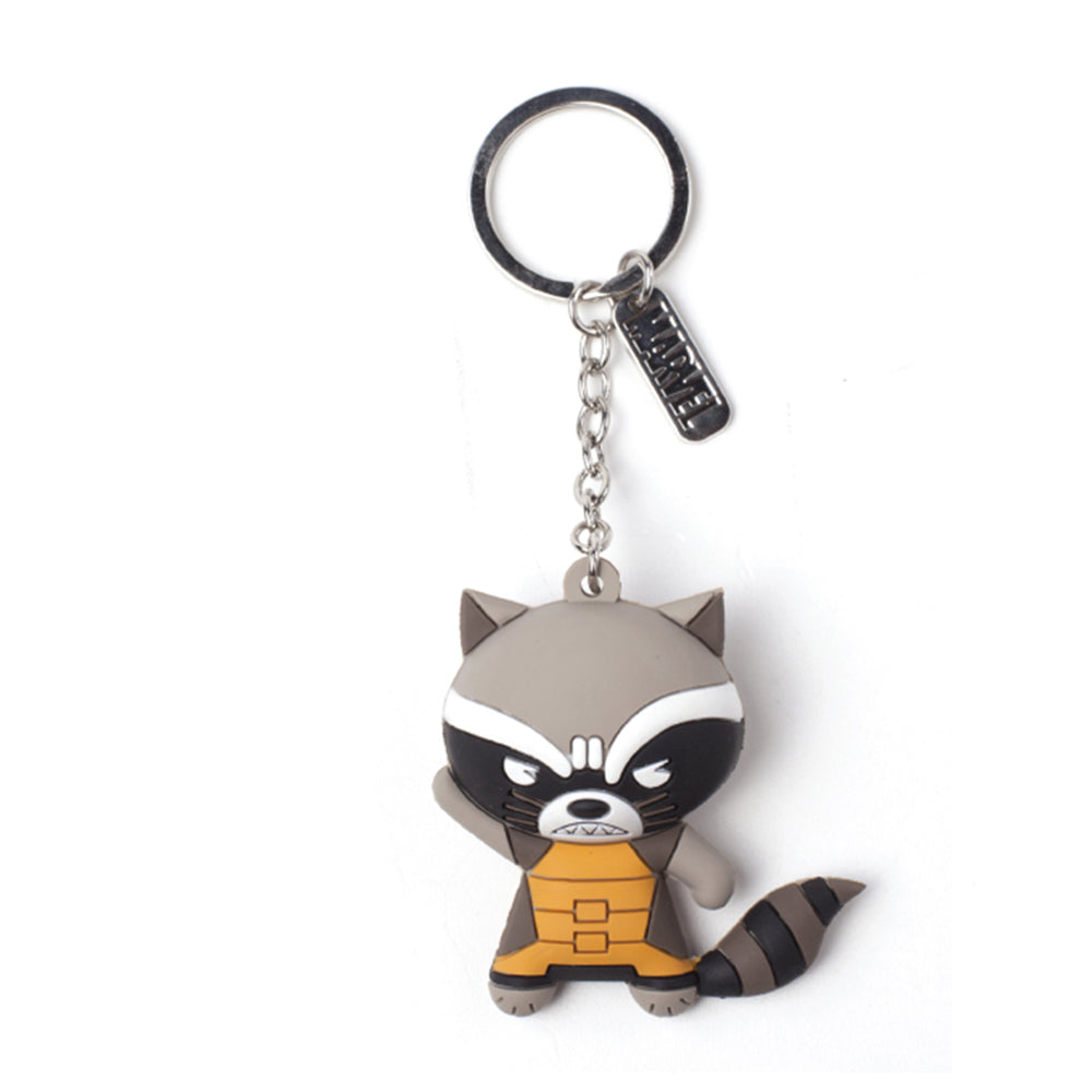 MARVEL COMICS Guardians of the Galaxy Vol.2 Rocket Raccoon Character 3D Pendant Rubber Keychain, One Size, Multi-colour (KE020308GOG)