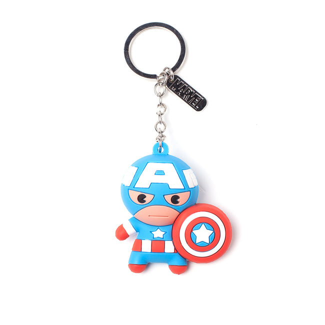 MARVEL COMICS Captain America Character 3D Pendant Rubber Keychain, One Size, Multi-colour