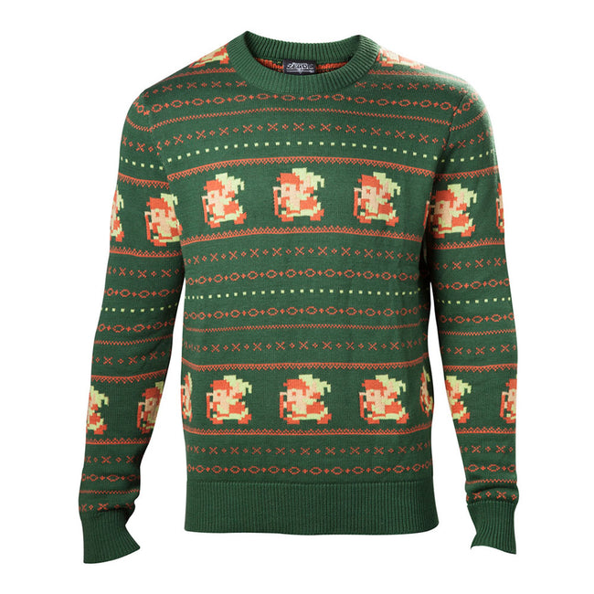 NINTENDO Legend of Zelda Kitted Pixel Link Christmas Sweater