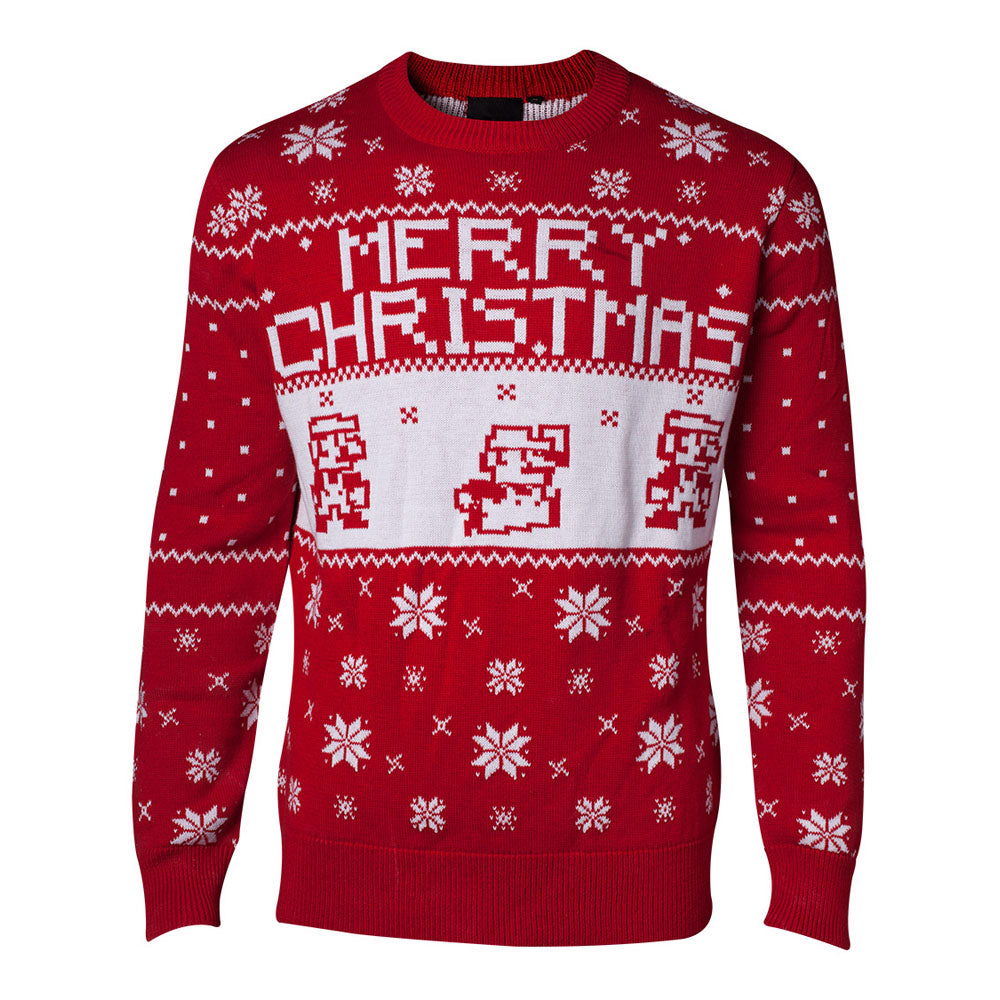 NINTENDO Super Mario Bros. Knitted Pixel Mario Merry Christmas Sweater
