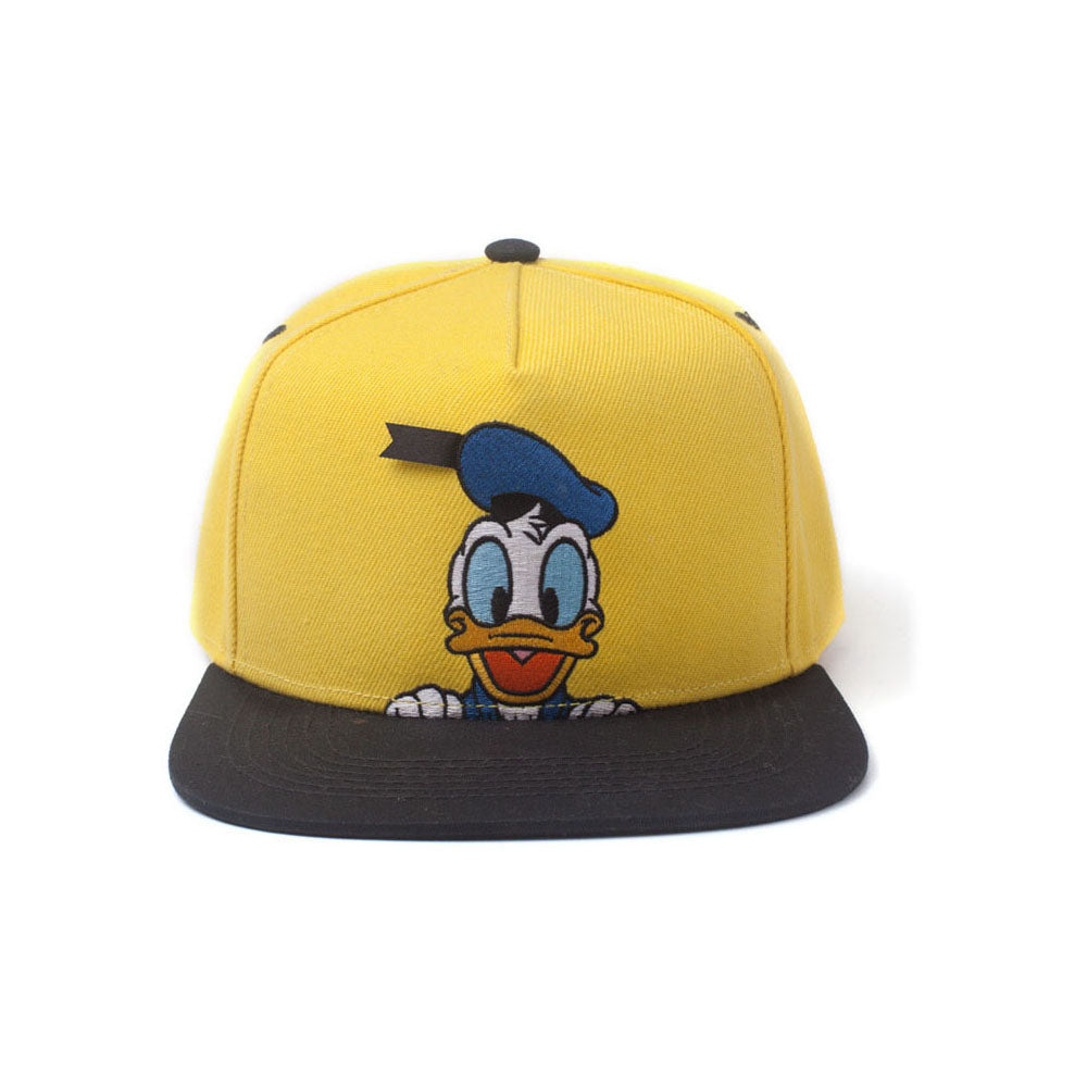 DISNEY Donald Duck Embroidered Face Snapback Baseball Cap, Yellow/Black (SB406837DON)