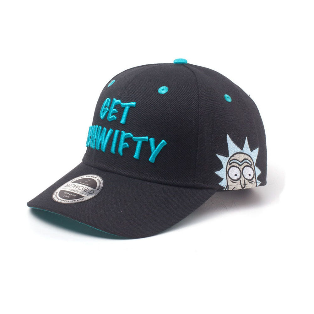 RICK AND MORTY Embroidered Get Schwifty Curved Bill Cap, Black/Turquoise (BA005235RMT)