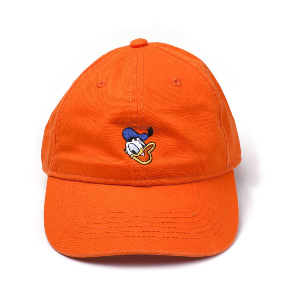 DISNEY Donald Duck Embroidered Face Stone Washed Denim Dad Cap, Orange (BA456701DON)