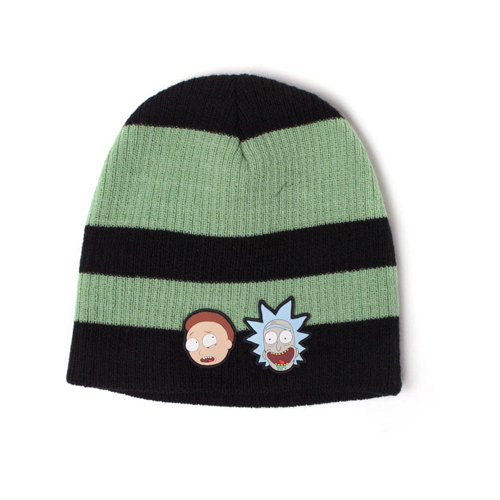 RICK AND MORTY Faces Striped Cuffless Beanie, Black/Green (KC556000RMT)