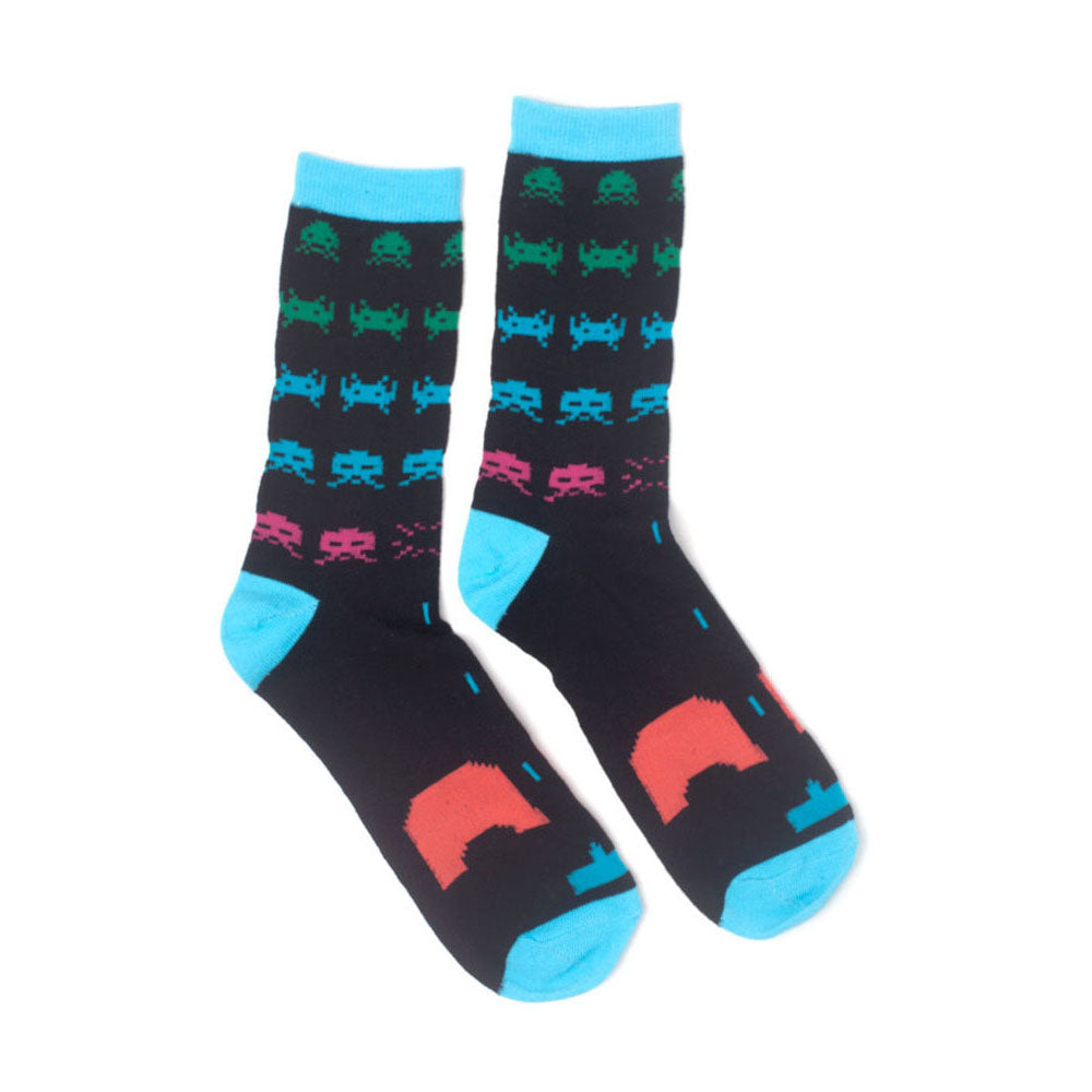 SPACE INVADERS Neon Colours Crew Socks
