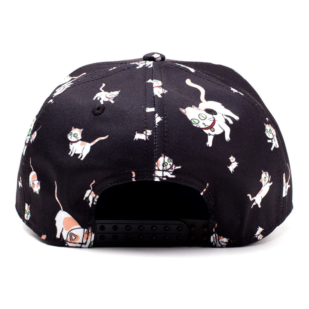 RICK AND MORTY Embroidered Logo and Cats All-over Print Snapback Baseball Cap, Black/Blue (SB008476RMT)