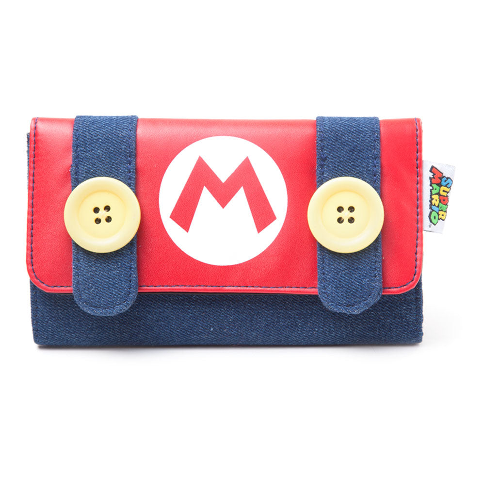 NINTENDO Super Mario Bros. Mario Demin Style Purse Wallet with Big Buttons