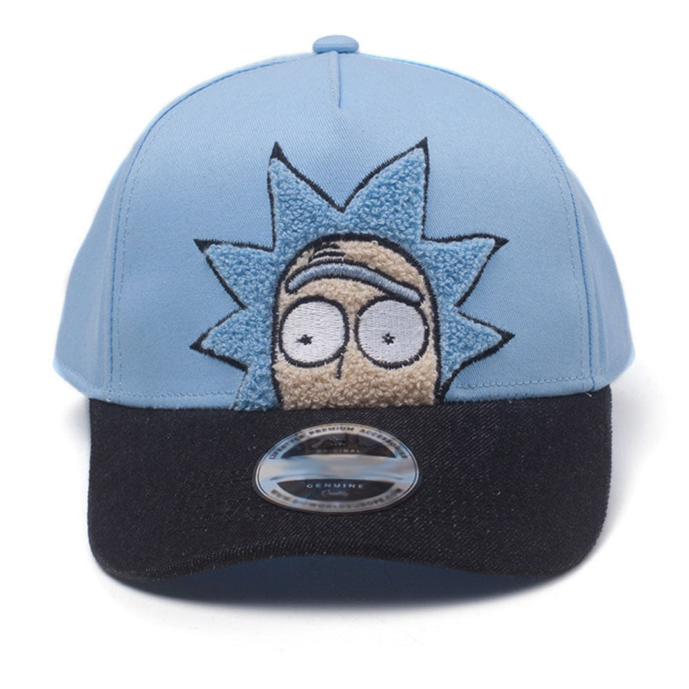 RICK AND MORTY Rick Chenille Embroidered Curved Bill Cap, Blue/Black (BA513854RMT)