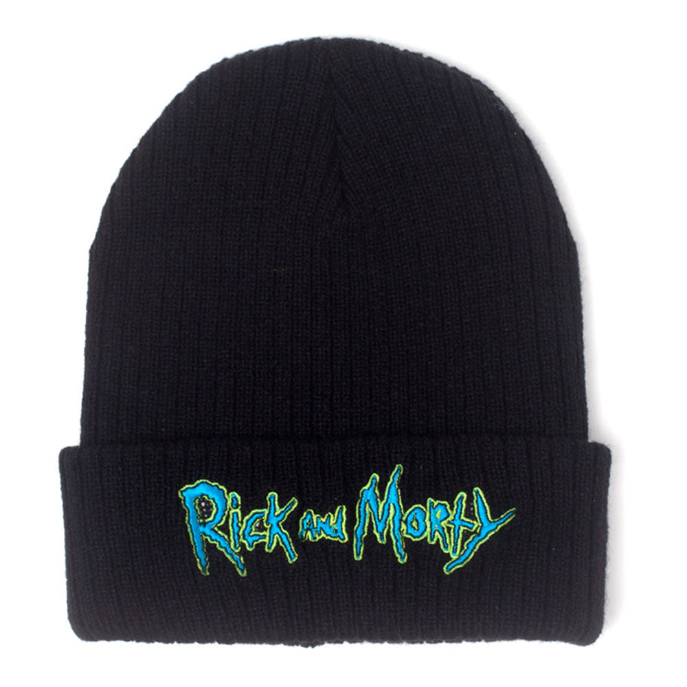 RICK AND MORTY Logo Embroidered Rollup Beanie, Black (KC318158RMT)