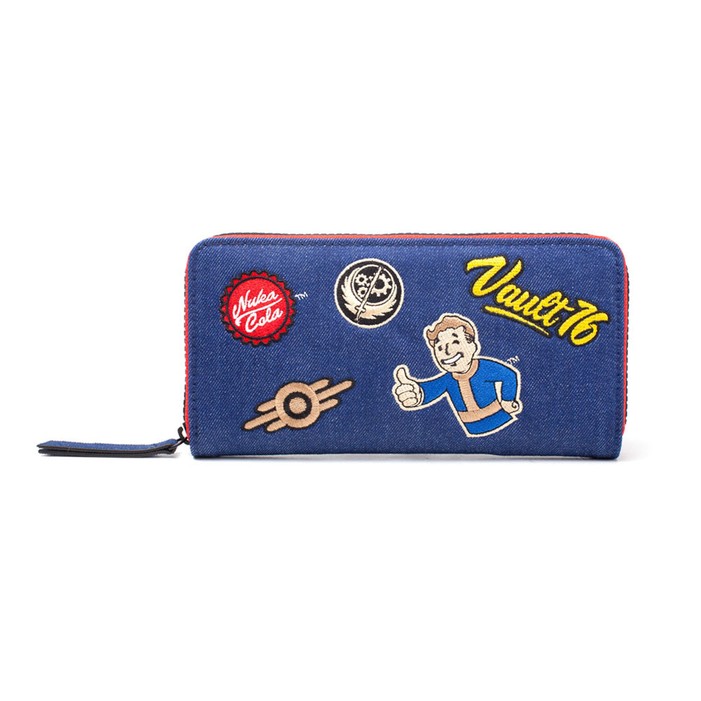 FALLOUT 76 Vault 76 Denim with Embroidered Patches Purse Wallet with All-Around Zip, Female, Blue/Red (GW375444FAL)