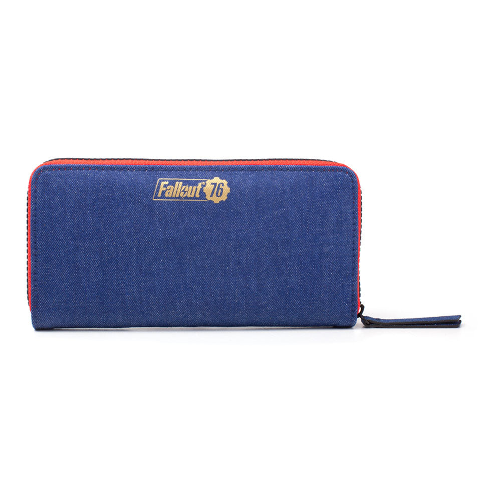 FALLOUT 76 Vault 76 Denim with Embroidered Patches Purse Wallet with All-Around Zip