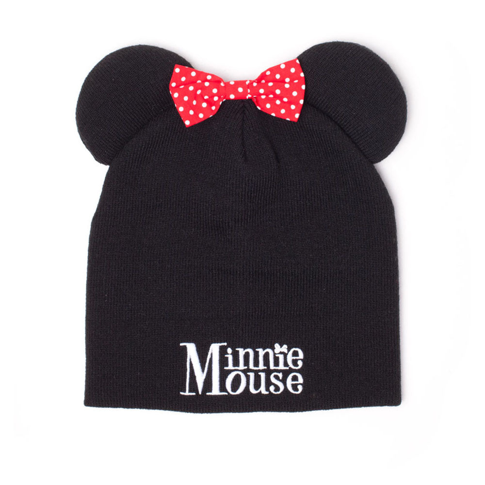 DISNEY Minnie Mouse Beanie with Ears and Pink Bow, Unisex, Black (KC352803MIN)