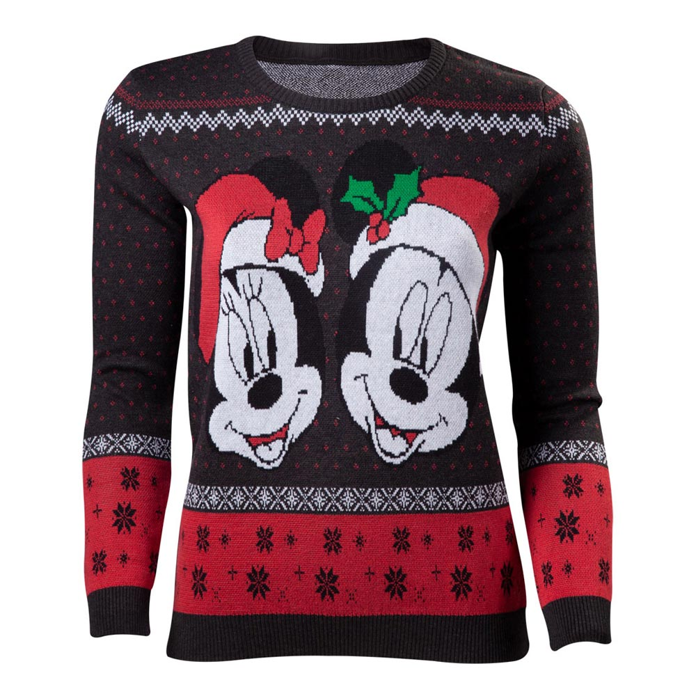 DISNEY Mickey Mouse Mickey & Minnie Christmas Knitted Sweater