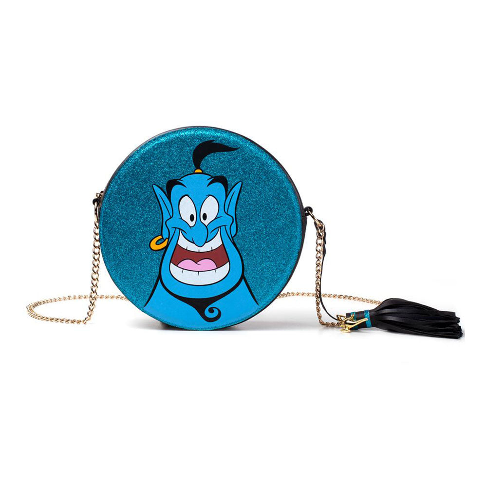 DISNEY Aladdin Glitter Genie Round Shaped Shoulder Bag with Chain Shoulder Strap, Female, Blue (LB224444ALD)
