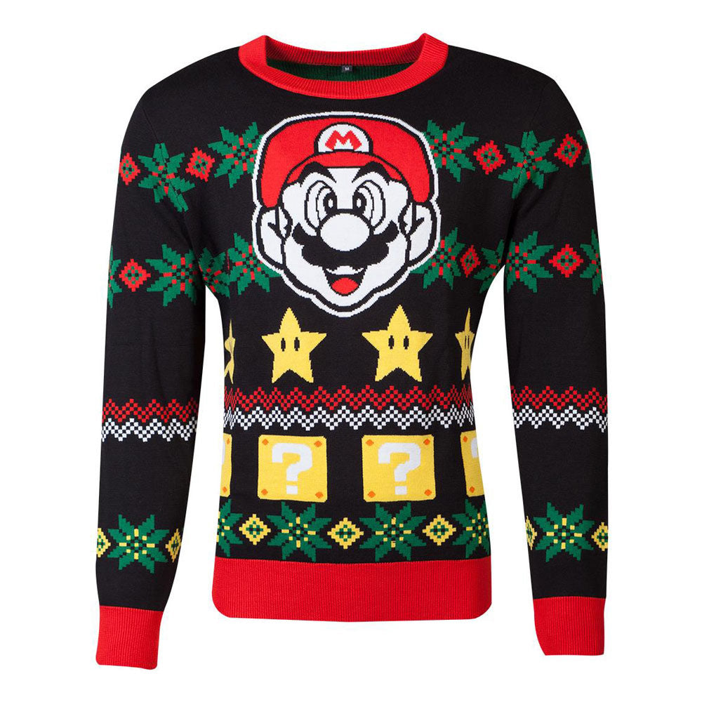 NINTENDO Super Mario Bros. Mario & Stars Knitted Christmas Sweater