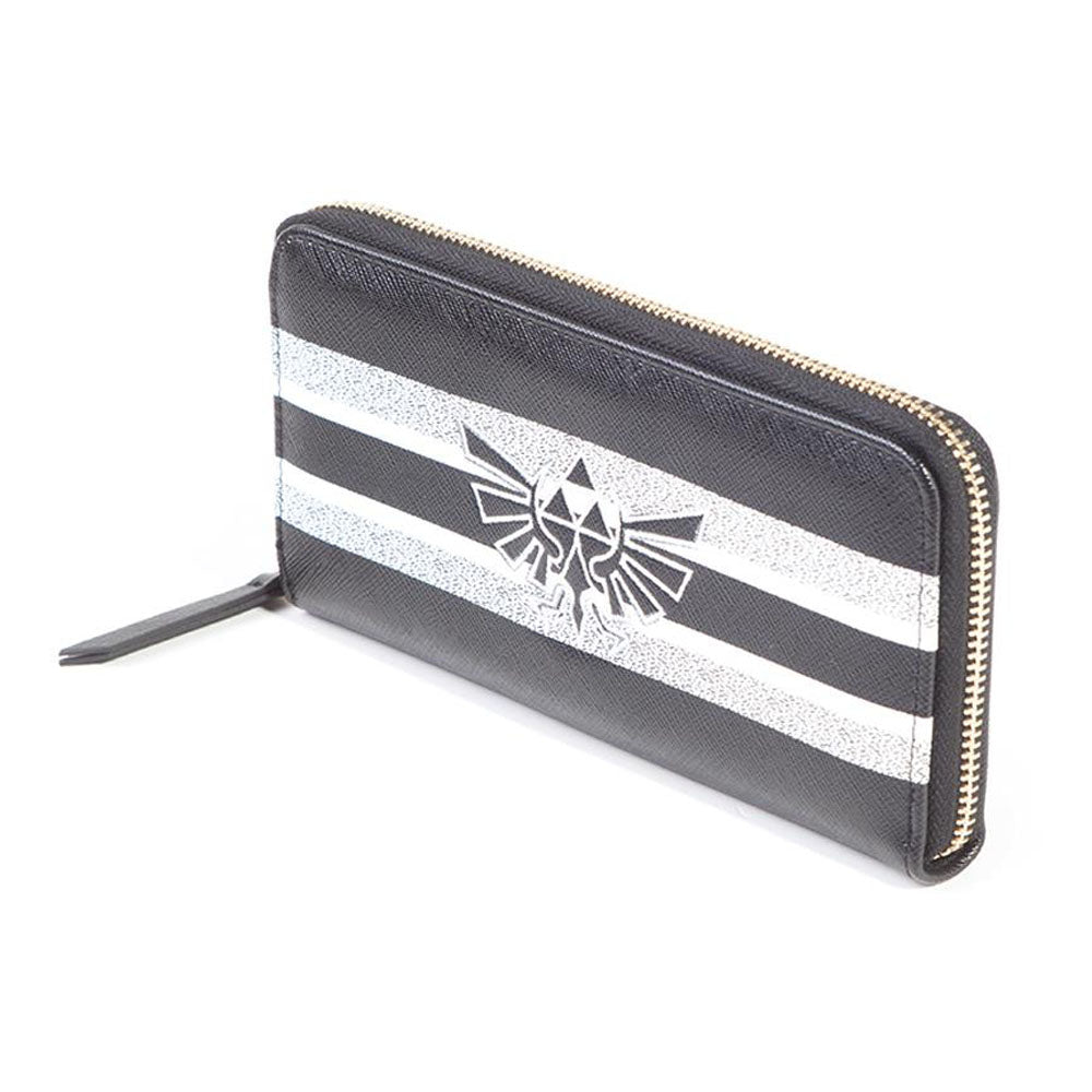 NINTENDO Legend of Zelda Hyrule Royal Crest with Stripe Pattern All-round Zipper Purse Wallet, Female, Black/White